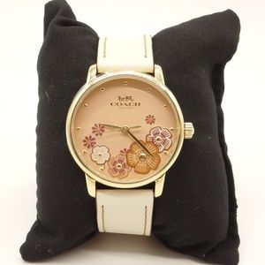 NWT COACH Grand Watch White Leather Band